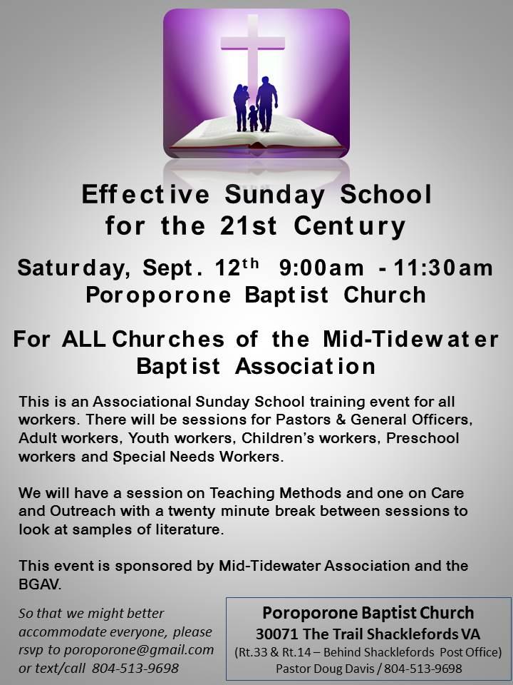 MTBA EFFECTIVE SUNDAY SCHOOL TRAINING EVENT FOR THE 21ST
